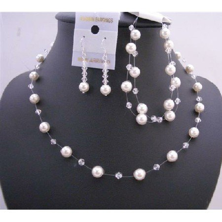 BRD651 Clear Crystals & White Pearls Necklace Set w/ Double Stranded Bracelet Complete Set
