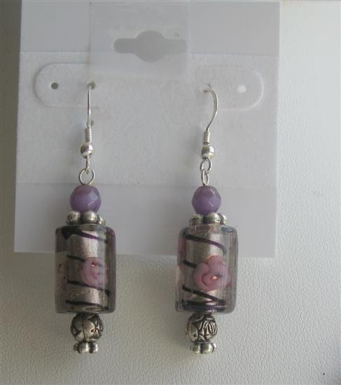 ERC374 Ethnic Millefiori Bead w/ Purple Cat Eye & Cylindrical Millefiori Earrings Sterling Earrings