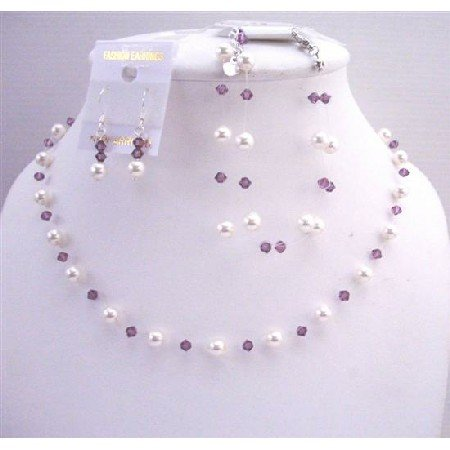 BRD611  White Pearls & Swarovski Amethyst Crystals Bridemaides Affordable Jewelry Set w/ Bracelet