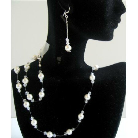 BRD596  Clear Crystals Bridal Wedding Jewelry Set w/ White Pearls Handcrafted Complete Set