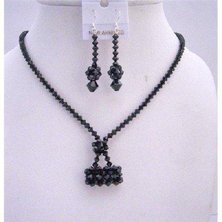 NSC550  Jet Crystals Purse Necklace Set Genuine Swarovski Crystals Purse Handmade Jewelry Set