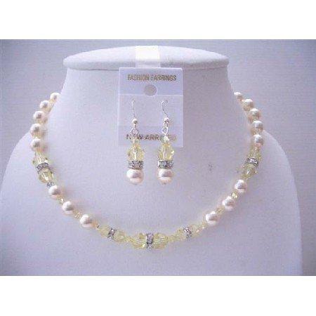 NSC543  Jonquil Swarovski Crystals Handmade Jewelry Set w/ Ivory Pearls Necklace Set