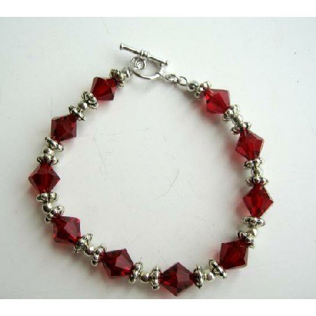 TB294  Sterling Silver Siam Red Swarovski Crystals Bracelet w/ Silver Beads & Daisy Spacer