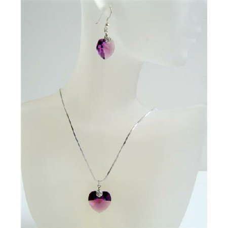 NSC517  Crystals Heart Pendant Genuine Swarovski Amethyst Crystals Heart Jewelry Set