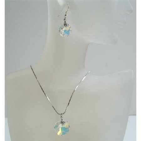 NSC516  Romantic Swarovski AB Crystals 18mm Heart Pendant Necklace & Sterling Silver Earrings