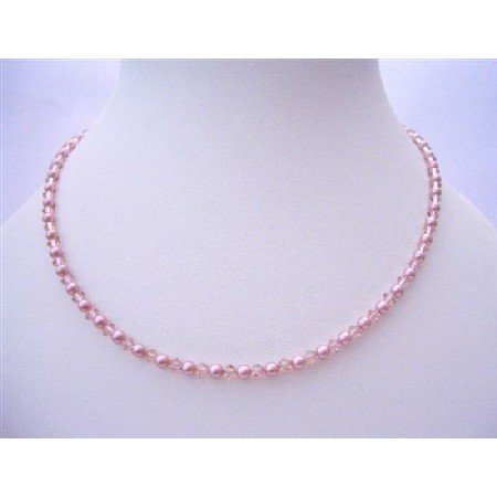 NSC486  New Vintage Handcrafted Custom Swarovski Rose Crystals & Powder Rose Pearls Jewelry Necklace