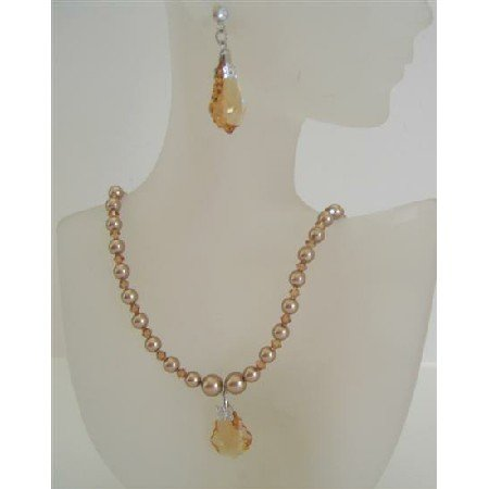 NSC444  Swarovski Crystals & Bronze Pearls Jewelry Set w/ Barque Pendant & Earrings