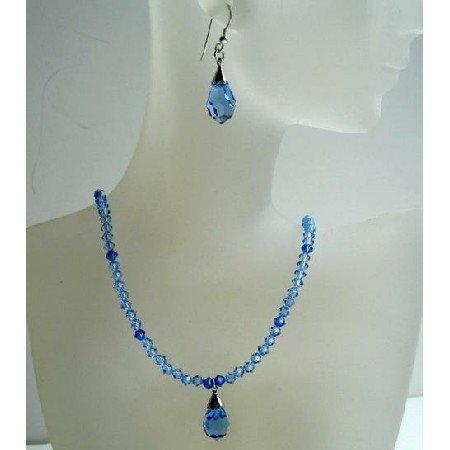 NSC383  Genuine Swarovski Sapphire Crystals w/ Tear Drop Pendant & Earrings