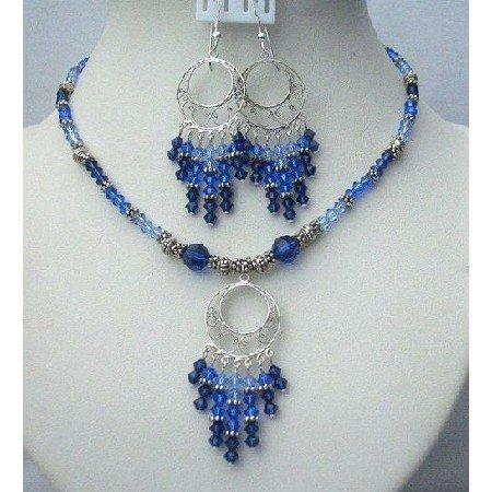 NSC371  Sterling Silver Jewelry Genuine Swarovski Multi Color Of Sapphire Crystals w/ Bali Silver