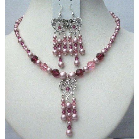 NSC370 Rose Powder Pearls Rose Pink & Fuschia Crystals Necklace & Earrings Jewelry Set