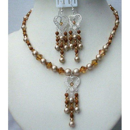 NSC369  Powder Almond Swarovski Pearls Sterling Silver Pendant & Earrings Set