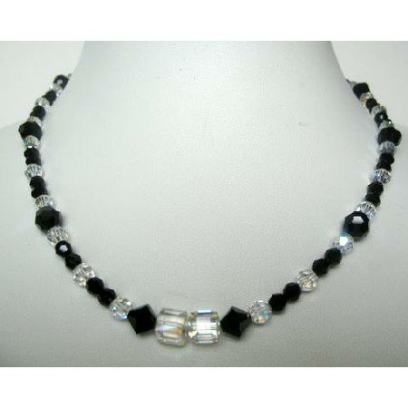 NSC340  Fashion Jewelry Genuine Crystals AB Crystals & Jet Formal Party Wear Jewelry Necklace
