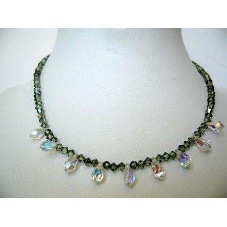 NSC272  Round the Neck String Genuine Swarovski Chrysolite Satin Crystals & AB Briolettes Necklace