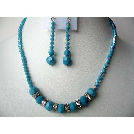 NSC244  Handcrafted Turquoise Necklace Set Genuine Swarovski Turquoise AB w/ Silver Rondells