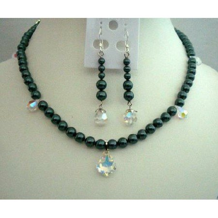 NSC243 Necklace & Earrings Swarovski Tahitan Pearls w/ AB Tear Drop &AB Baroque Pendant
