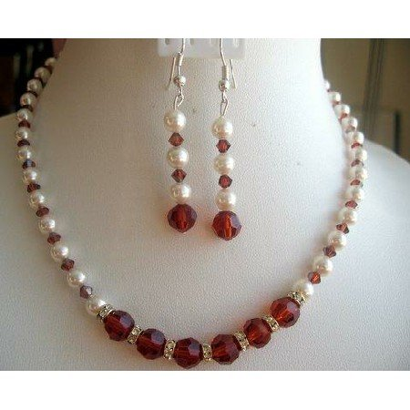 NSC154  Vintage Victorian Set of Cream Rose Pearls and Indian Red Crystals Ball