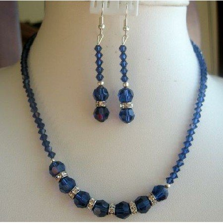 NSC152  Vintage Necklace Set in Genuine Swarovski Sapphire Crystals w/ Simulated Diamond Rings
