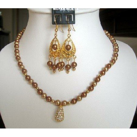 NSC141  Authentic Necklace Set in Swarovski Copper Pearls w/ 22k Gold Plated Pendant