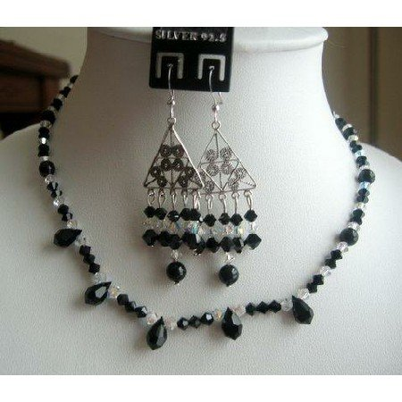 NSC137  Gorgeous Authentic Jet Swarovski Crystals AB Crystals Necklace Set