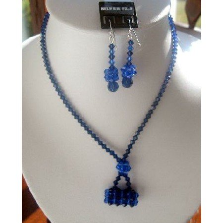 NSC135  Genuine Sapphire Swarovski Crystals w/ Purse Pendant Necklace Set