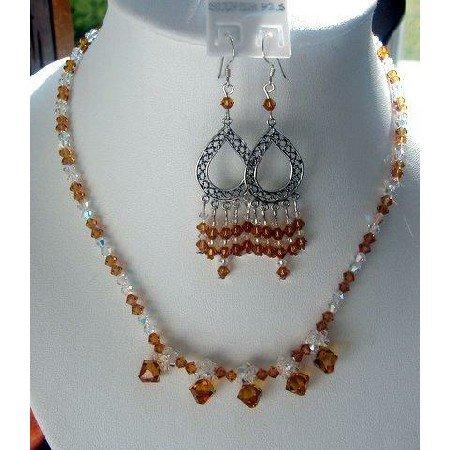 NSC129  Genuine Swarovski Topaz & AB Crystals Sterling Silver Necklace & Earrings