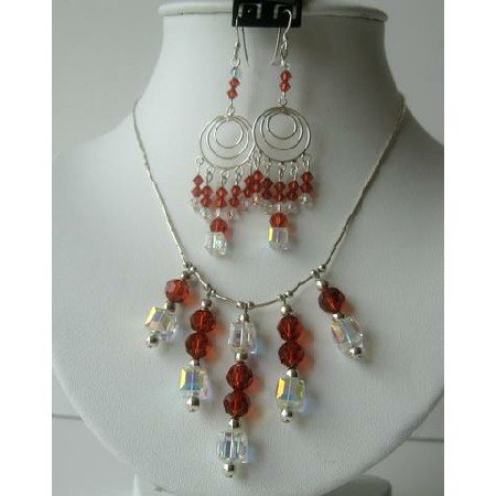 NSC125  Genuine Swarovski Red Indian & AB Crystals Bridal Sterling Silver Necklace Set Handmade