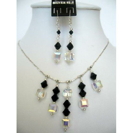 NSC119  Genuine Swarovski Jet Crystals & AB Crystals Sterling Silver Necklace Set