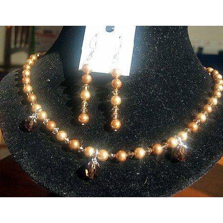 NSC110  Genuine Swarovski Gold Tone Crystals & Pearls Necklace Set