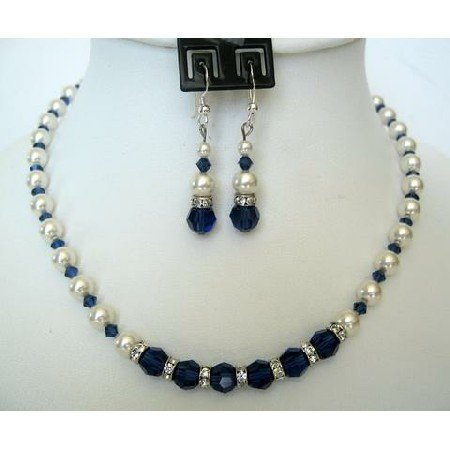 NSC106 Vintage Necklace Set Genuine White Pearls & Sapphire Crystals Handcrafted Custom Jewelry