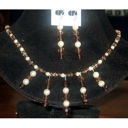 NSC101 Genuine Swarovski Austrian Lt. & Dark Smoked Topaz Crystals & Cream Pearls Necklace Set