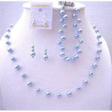 BRD442  Bridemaides Blue Pearls Jewelry Set Genuine Swarovski Blue Pearls Handcrafted Complete Set