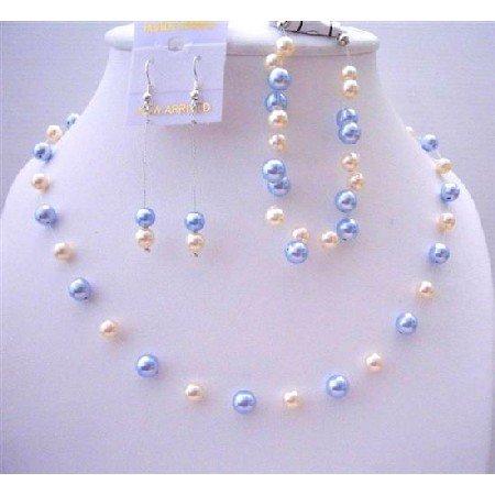 BRD443  Swarovski Blue & Ivory Pearls Handcrafted Bridal Bridemaides Jewelry Set Complete Set
