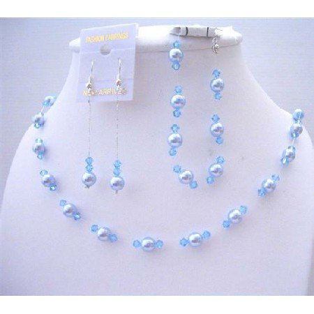 BRD440  Blue Pearls Aquamarine Crystals Wedding Jewelry Set Genuine Swarovski Complete Set