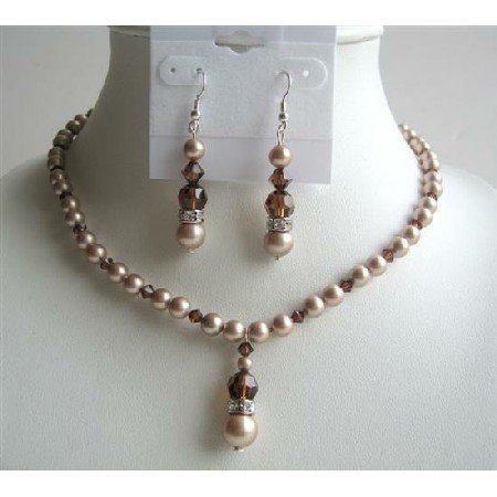 BRD448 Powder Almond Pearls & Swarovski Smoked Topaz AB Crystals Handcrafted Jewelry Set