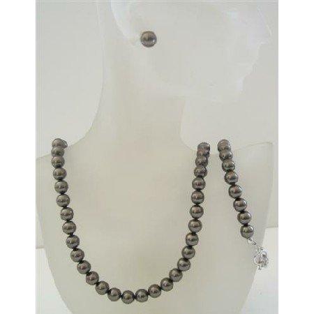 BRD455 Swarovski Dark Brown Espresso Pearls Complete Set Necklace Earrings & Bracelet Set