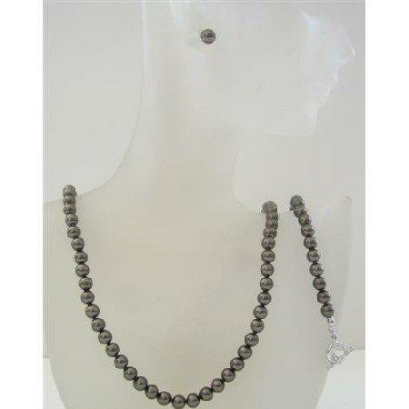 BRD469 Swarovski Dark Brown Pearls 6mm Complete Set Necklace Earrings & Bracelet Set