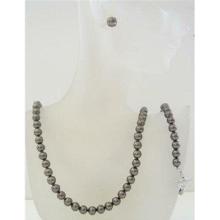 BRD470 Swarovski Dark Brown Pearls 7mm Complete Set Necklace Earrings & Bracelet Set