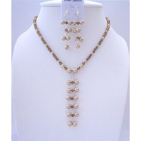 BRD426 Genuine Swarovski Pearls Dangling Drop Necklace And Earrings Jewelry Set