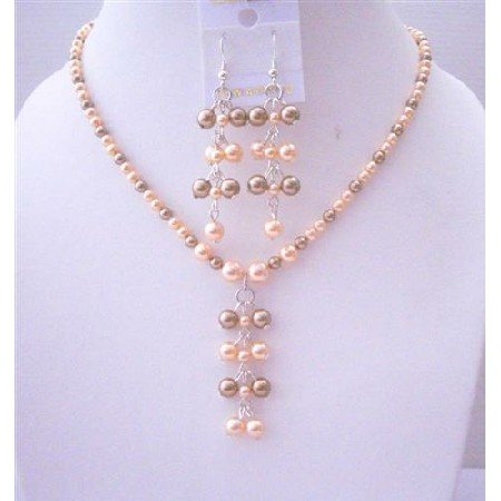 BRD462  Genuine Swarovski Pearls Dangling And Earrings Jewelry Set