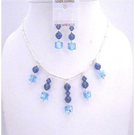 BRD574  Aquamarine Swarovski Crystals And Metallic Blue Crystals Silver Pipe Bridal Set