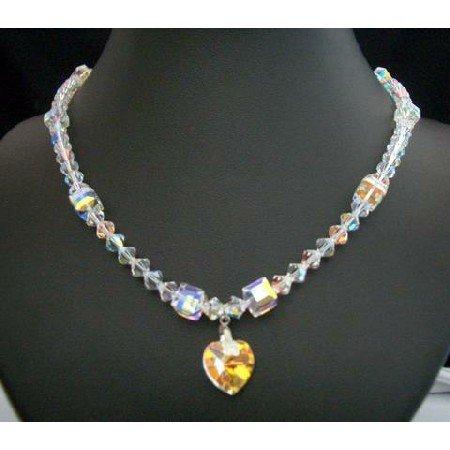 BRD162  Fine Crystals Collectibles Genuine Swarovski Aurore Borealis Crystals Heart Pendant Necklace