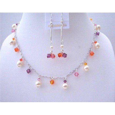BRD466  Multicolor Swarovski Crystals w/ Ivory Pearls Jewelry Set Wedding Party Perfect Jewelry Gift