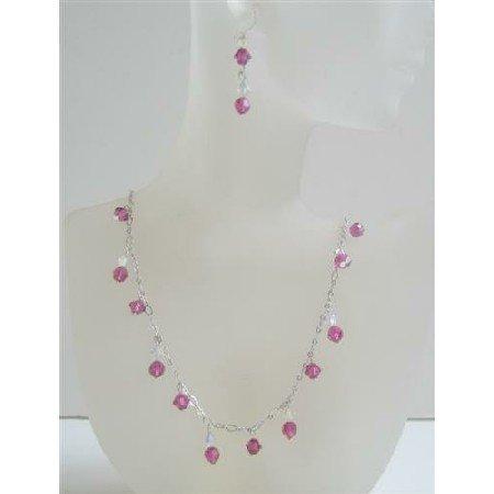 BRD519  Swarovski AB w/ Fuschia Crystals Custom Bridal Jewelry Set