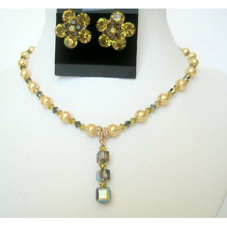 BRD271  Wedding Pearls Crystals Bridal Jewelry Genuine Lime Pearls & Lime Crystals Necklace Set