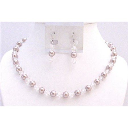 NS731  Wedding Party Affordable Jewelry Faux Champagne Pearls & Chinese Clear Crystals