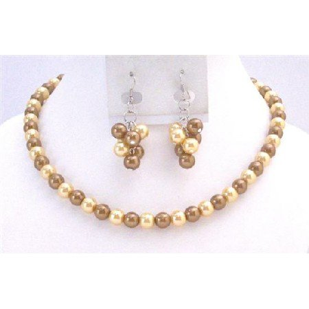 NS734  Latte Pearls and Yellow Pearls Necklace Sets Stunning Bridal Briedemaids Inexpensive