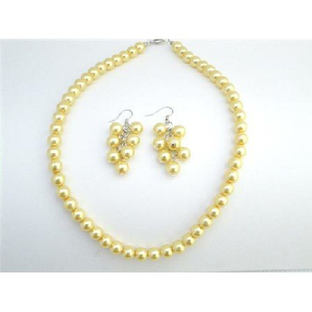 NS737 Yellow Color Jewelry Wedding Yellow Dress Jewelry Yellow Pearls Jewelry Set