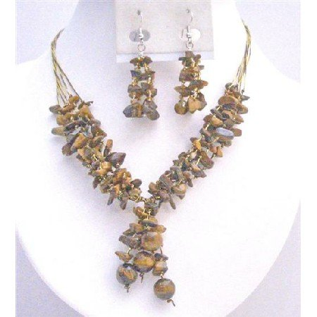 NS739 Tiger Eyes Stones Interwoven In 5 Stranded Same Silk Thread Drop Down Necklace Set