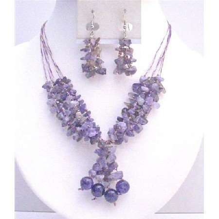 NS742 Amethyst Stone Nugget Woven In Silk Thread Matcing Silver Earrings Set