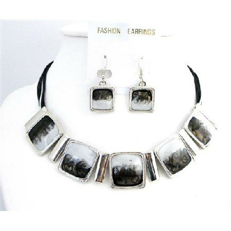 NS745 Combination Of White And Black Enamel Shaded Square Pendants Choker Set Jewelry
